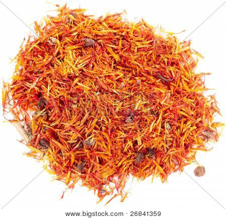 Pile of dried imereti saffron isolated on white, macro shot
