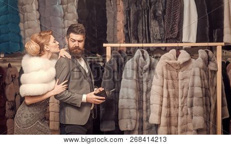Purchase, Business, Moneybags. Couple In Love Among Fur Coat, Luxury. Fashion And Beauty, Winter, Fu