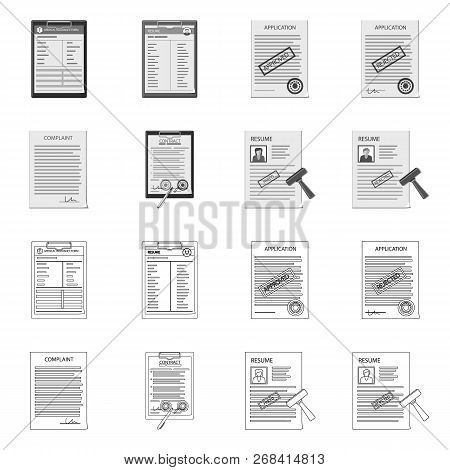 Vector Illustration Of Form And Document Icon. Set Of Form And Mark Stock Symbol For Web.
