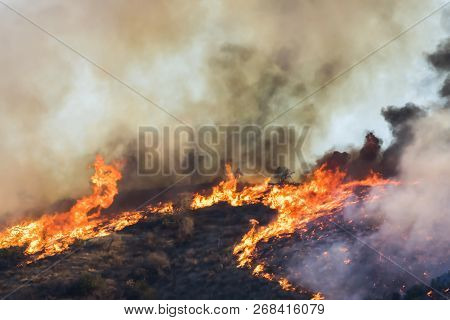 Bright Orange Flames And Black Smoke As Fire Burns Brush And Trees On Hillside During California Wil