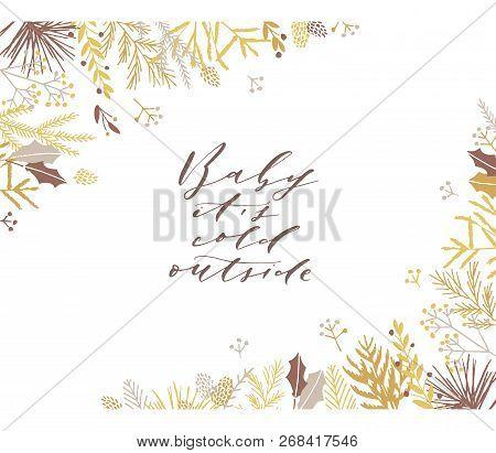 Elegant Stylish Christmas Greeting Card Design. Minimalist Vector Hand Drawn Holiday Postcard, Delic