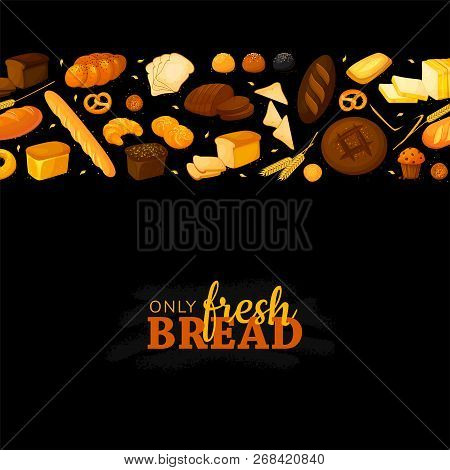 Poster Frame Template With Bread Products On Black Chalkboard. Cartoon Vector Illustration. Rye, Who