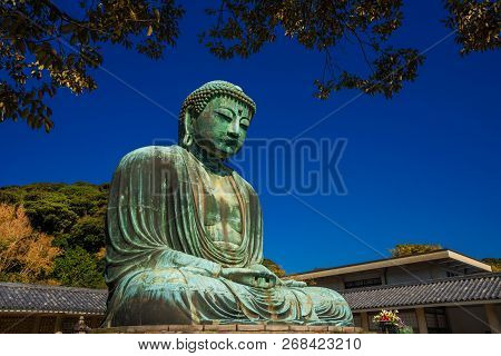Kamakura, Japan - October 26: The Great Buddha Of Kamakura Monumental Bronze Statue, One Of The Most