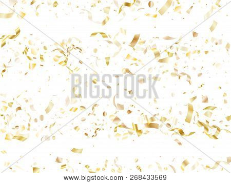 Gold Shiny Realistic Confetti Flying On White Holiday Poster Background. Rich Flying Sparkle Element