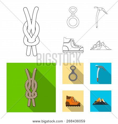 Vector Design Of Mountaineering And Peak Icon. Collection Of Mountaineering And Camp Stock Symbol Fo