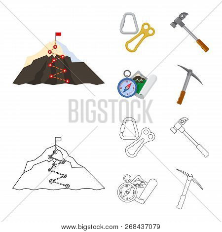 Isolated Object Of Mountaineering And Peak Icon. Collection Of Mountaineering And Camp Vector Icon F