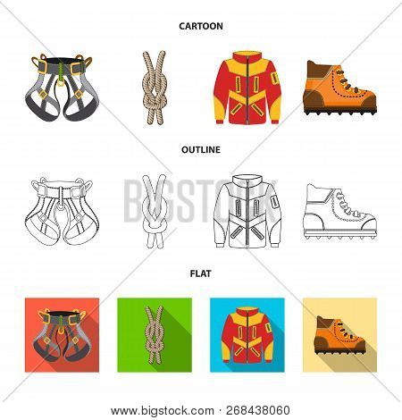 Vector Design Of Mountaineering And Peak Icon. Collection Of Mountaineering And Camp Vector Icon For