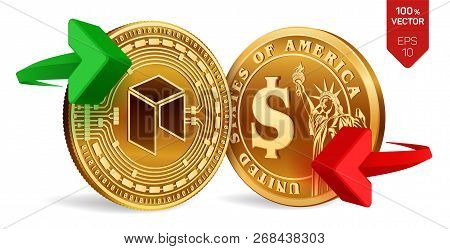 Neo To Dollar Currency Exchange. Neo. Dollar Coin. Cryptocurrency. Golden Coins With Neo And Dollar