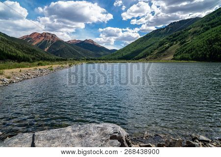Crystal Lake in Colorado, along the Million Dollar Highway near Silverton and Ouray in the San Juan Mountains poster