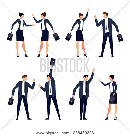 Set Of Stylized Office Workers In Suits, Briefcase. Jubilant People With Their Hands Up, Successful