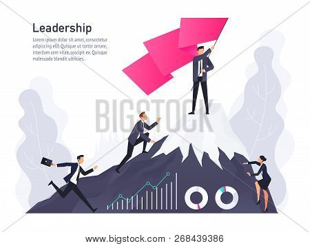 Vector Concept Of Leadership In A Flat Style. Businessman At The Top Of Mountain With Flag. Office W