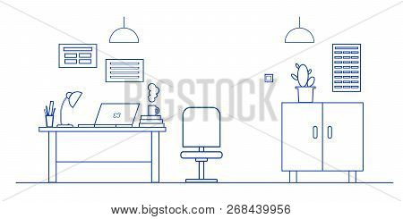 Vector Illustration Office Interior, Office Decor: Desk, Computer, Laptop, Desk Lamp, Wardrobe. Offi