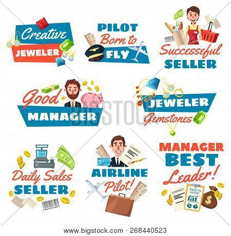 Businessman Or Clerk, Jeweler And Supermarket Seller, Pilot Profession Icons. Vector Peoples With Wo