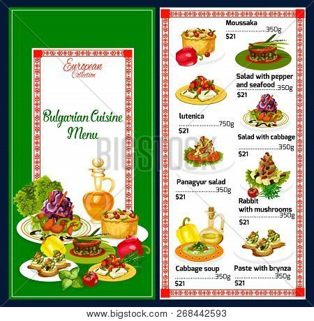 Bulgarian Cuisine Traditional Balkan Menu. Vector Moussaka, Lutenica Or Cabbage Salad And Soup, Seaf