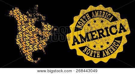 Golden Composition Of Dollar Mosaic Map Of North America And Scratched Seal Stamp. Vector Seal With