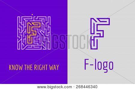 F Letter Logo Maze. Creative Logo For Corporate Identity Of Company: Letter F. The Logo Symbolizes L