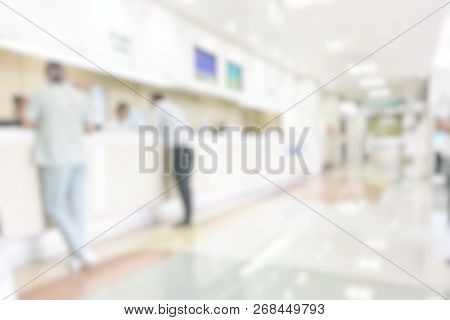 Medical Blur Background Customer Reception Or Patient Service Counter, Office Lobby In Hospital Clin