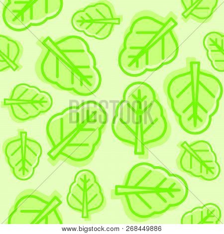 Vegetable Seamless Pattern Vector, Chinese Kale Or Spinach Outline For Wallpaper And Background
