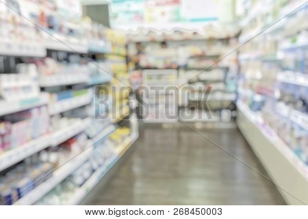 Pharmacy Store Or Drugstore Blur Background With Drug Shelf And Blurry Pharmaceutical Products, Cosm