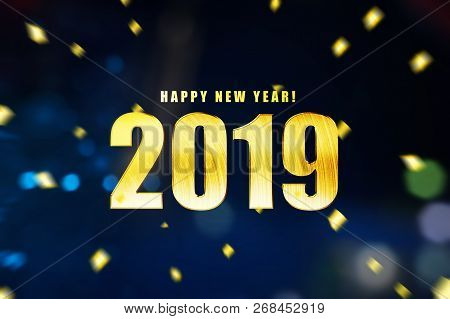 Happy New Year 2019 With Colored Background. Happy New Year 2019