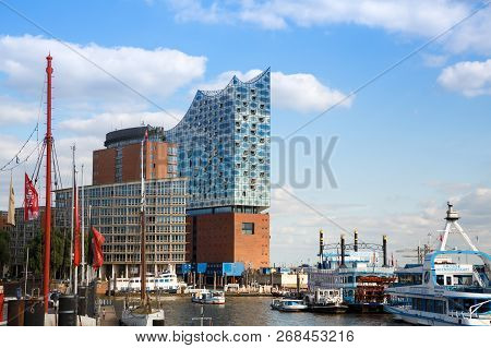 Hamburg, Germany - August 17, 2016 - Elbphilharmonie The Concert Hall And Boats In Hafencity Distric