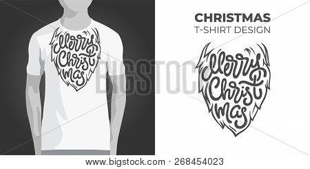 Original Print Design For T-shirt With Santa Beard And Merry Christmas Typography. Vector Illustrati