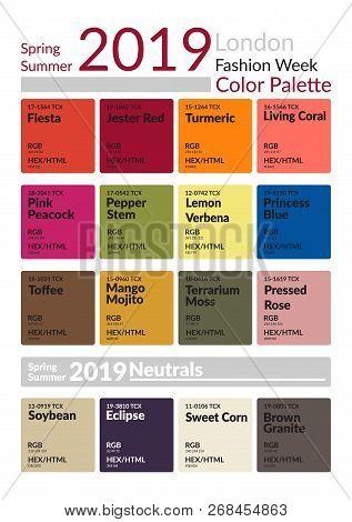 London Fashion Week Spring Summer 2019 Color Palette. Colors Of The Year. Palette Fashion Colors Gui