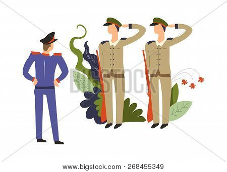 Army Commander,  And Soldiers With Riffles Obeying  Order