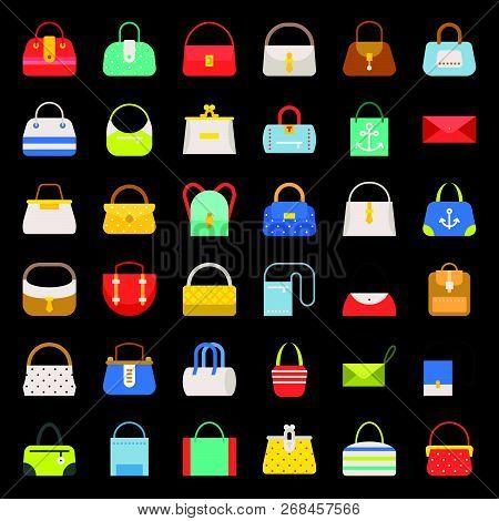 Fashion Bag Flat Design Icon In Various Style Such As Tote Bag, Athletic Bag, Boho, Shoulder Bag, Ba