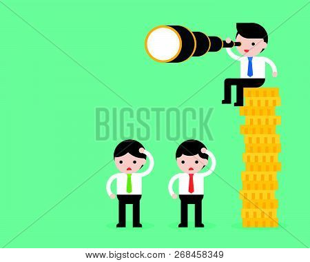 Tiny Businessman Sitting On Stack Of Gold Coins, Holding Binocular, Another Businessman Standing On