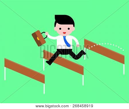 Business Man Jump Pass Hurdle, Pass The Obstacles, Business Situation Concept, Flat Design Vector