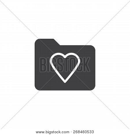 Heart Folder Vector Icon. Filled Flat Sign For Mobile Concept And Web Design. Favorite Folder Simple