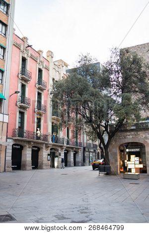 Barcelona, Spain - March 18, 2018: Morning on Arcs Street in Barcelona, Spain.