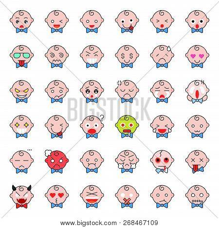 Cute Baby Emoticon Thin Line Icon Set, Vector Illustration