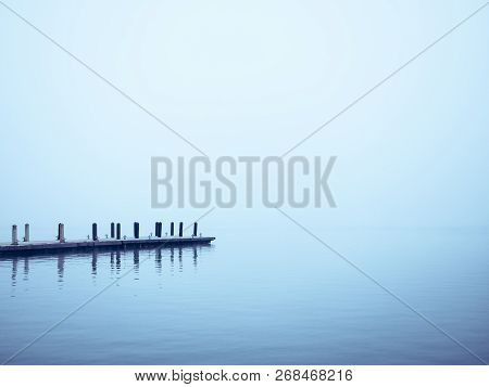 Pier Lake With Dock Water Background Misty Nature Landscape