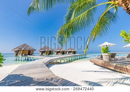 Luxury Water Villas In Maldives. Perfect Vacation And Holiday Background, Wooden Pier Jetty Under Pa