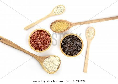 Many Types Of Rice, Shot From The Top On A White Background With A Place For Text. White, Red, Brown