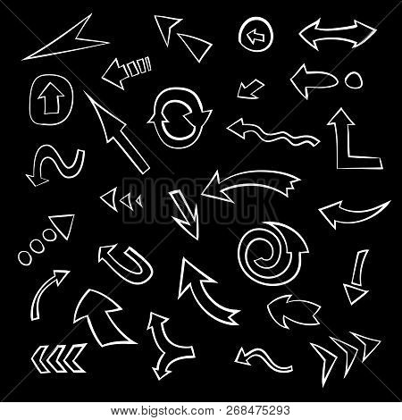 Big Set Of Hand Drawn Arrows. Collection Of Doodle Arrow Symbols, Vector