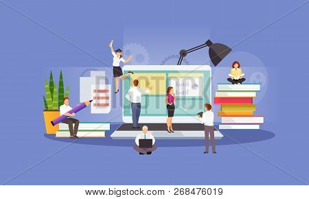 Concept Of E-learning, Online Education, Business Training. Learning People. Vector Illustration