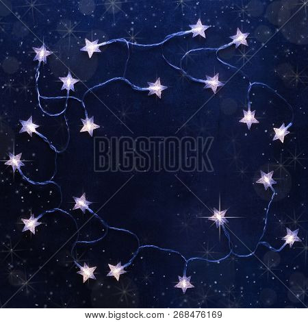 Magical Christmas Background From The Lights Of The Stars In Blue Tones