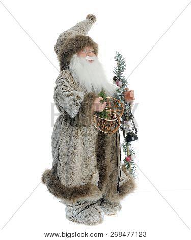 Lovely Statue Saint Nicolas, Christmas Decoration, Isolated On White Background