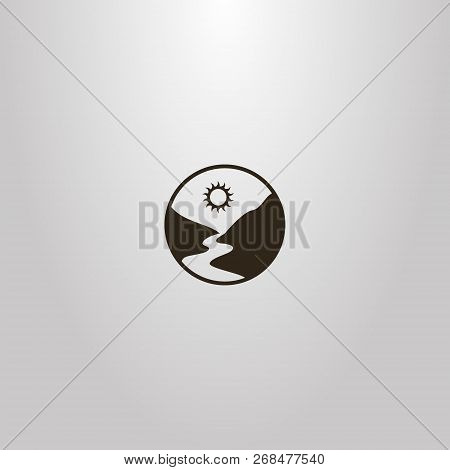 Black And White Simple Vector Round Sign Of A River Or Footpath Between Mountains