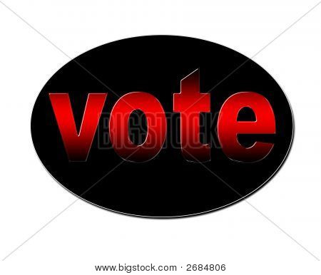 An illustration of a red colored voting badge. poster