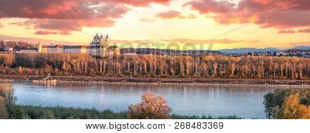Panorama Of Melk Abbey With Danube River And Autumn Forest