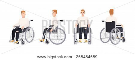 Cute Happy Young Man In Wheelchair Isolated On White Background. Smiling Male Character With Physica
