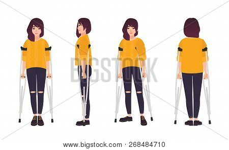 Smiling Young Woman Standing Or Walking With Crutches. Cute Girl With Limited Mobility. Happy Female
