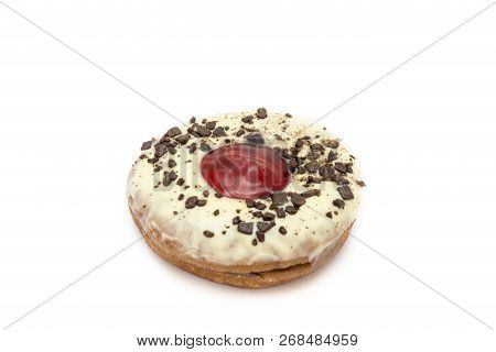 Donut White Chocolate With Strawberry Jam And Nut Isolated On White Background. Clipping Path For Us