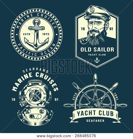 Vintage Nautical Logos Collection With Anchor Sailor Smoking Pipe Diver Helmet Ship Wheel In Monochr