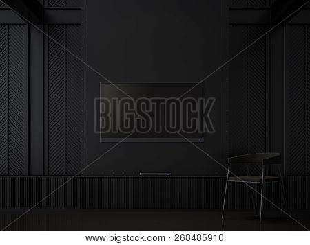 Black Room And Empty Tv Screen 3d Render.there Are Black Floors, Decorate Wall With Pattern Of Steel