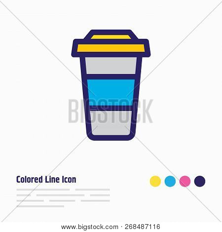 Vector Illustration Of Coffee To Go Icon Colored Line. Beautiful Joy Element Also Can Be Used As Dec